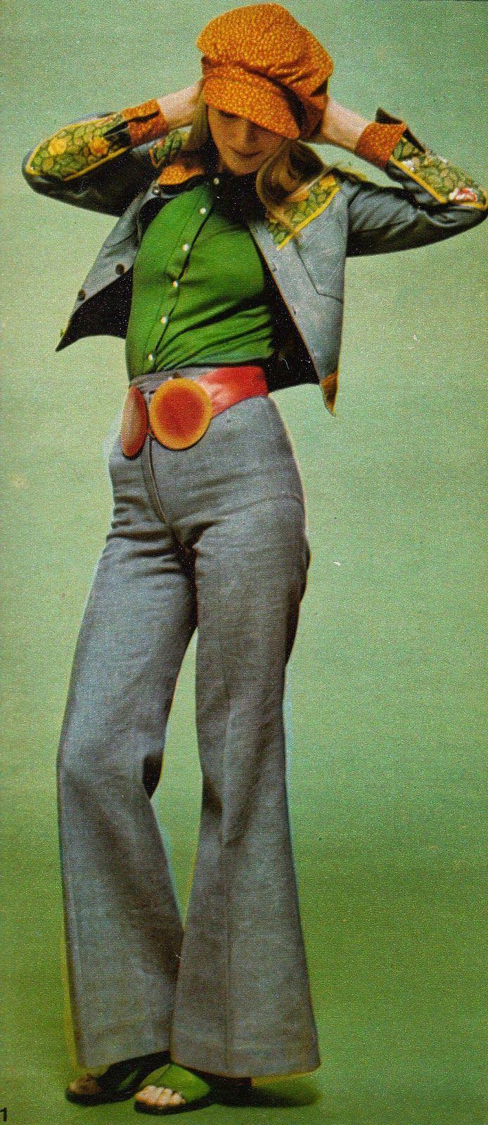 1971 Fashion 70s pant suit wide leg jacket grey blue red belt leather green shirt hat prairie girl disco hippie
