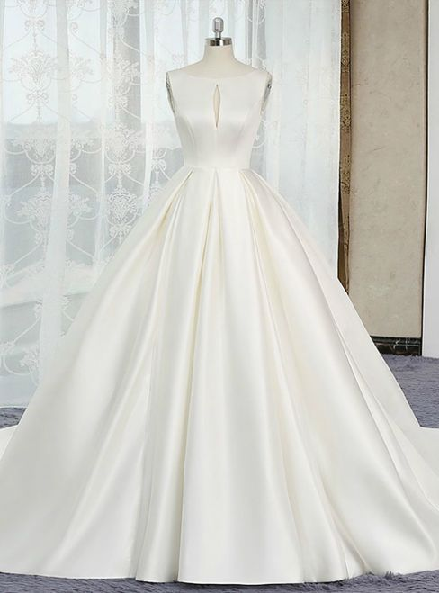 Ivory White Ball Gown Satin Cut Out Backless Wedding Dress