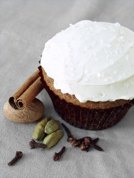 [ Recipe: Spiced Chai Latte Cupcakes with Swiss Meringue Buttercream ] For cupcake: soy milk, loose leaf black tea, apple cider vinegar, all-purpose flour, cornstarch, baking powder, baking soda, salt, canola oil, sugar, vanilla extract and these ground spices: cinnamon, cardamom, ginger, cloves, and nutmeg. For the frosting: sugar, egg whites, unsalted butter, vanilla extract, and ground cinnamon. ~ from Love and Olive Oil