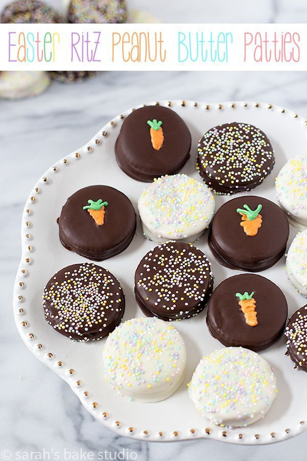 Easter Ritz Peanut Butter Patties – creamy peanut butter sandwiched between two crunchy Ritz crackers and bathed in smooth melted chocolate.