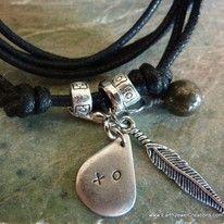 Handstamped Charm Pendant Gemstone Crystal wrist wrap anklet handmade noosa