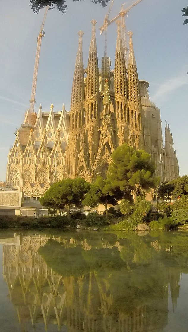 Barcelona, Spain - view of La Sagrada Familia from Placa de Gaudi