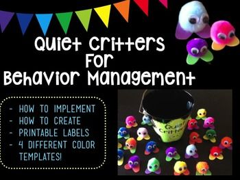 Quiet critters are a wonderful behavior reinforcement tool, especially during work time. These cute little critters are kept in a jar or a bucket and placed on each students desk when its time to work.This printable includes:- Suggestions on how to use the critters in your classroom- Instructions on how to make the critters- Quiet critter signs in 4 different color templates- Rocking Hundreds Chart (quiet critter reward)