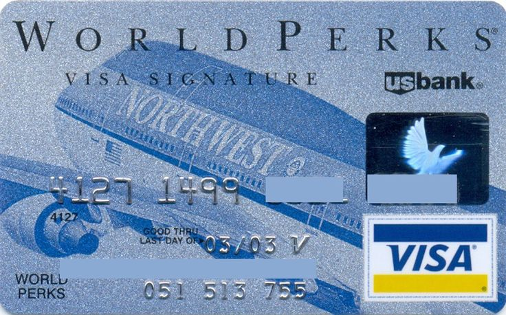 Northwest Airlines VISA Signature (US Bank, United States of America) Col:US-VI-0280-2