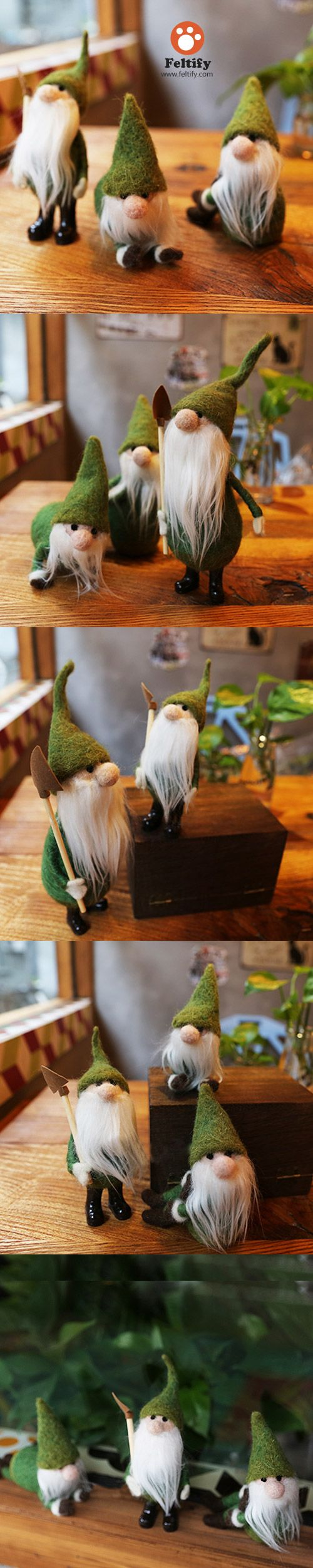 Handmade Needle felted felting cute Christmas green gnome garden felted wool doll