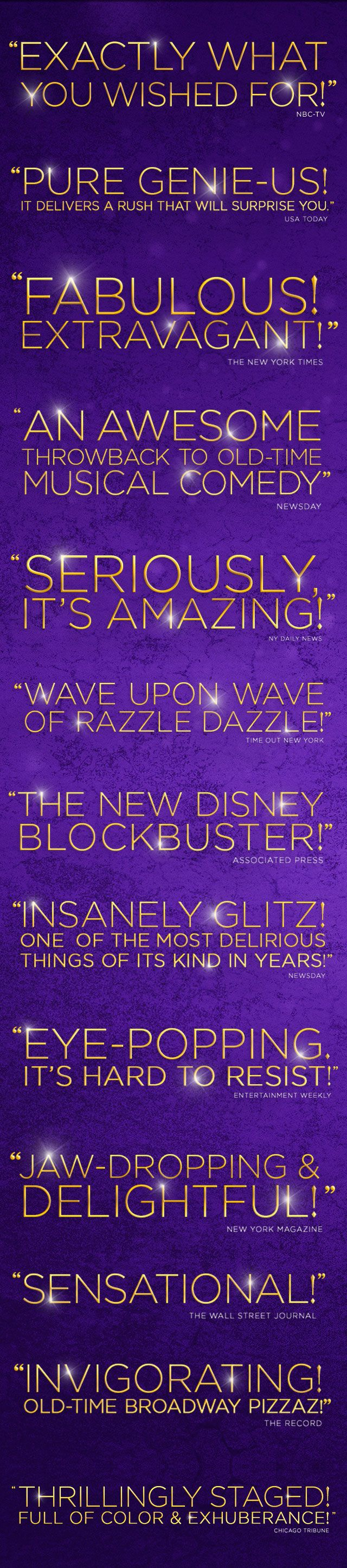 Disney's official site for tickets and information to the hit Broadway musical ALADDIN in New York City and on tour across America!