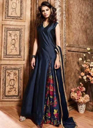 Navy Blue Printed Silk Santoon Fancy Pattern Long Designer Anarkali Suit http://www.angelnx.com/Salwar-Kameez/Anarkali-Suits