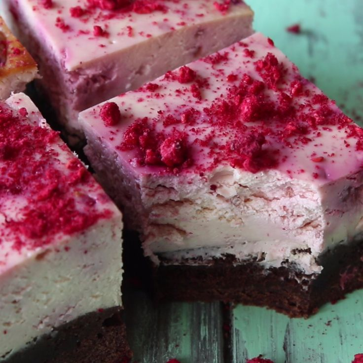 Rich fudge brownie base with a raspberry cheesecake top. Yes, we went there.