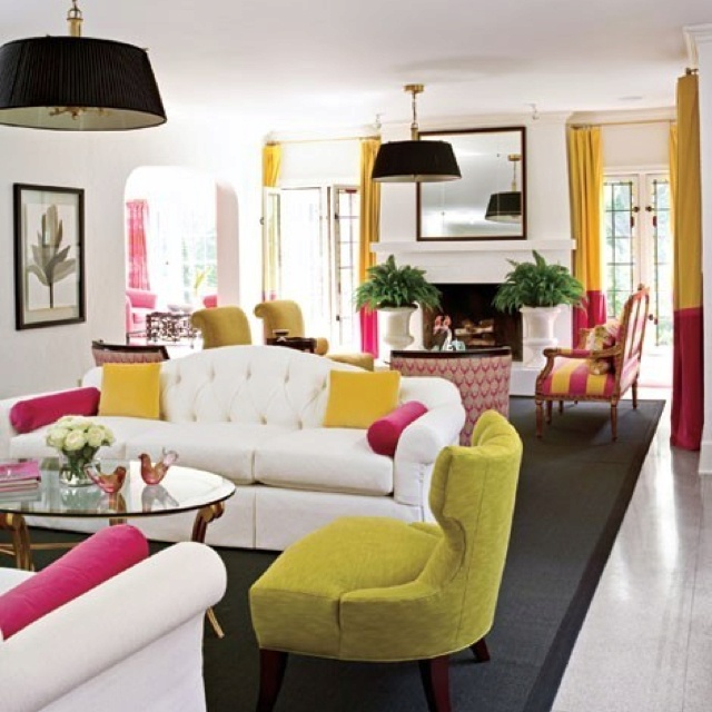 Really Cool Colorful Living Room With White Sofa And Two Tone Yellow Pink Curtains So Happy