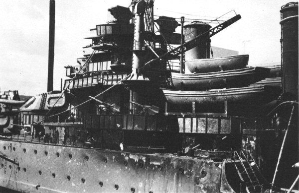 """Tora! Tora! Tora! - This is a closeup of the 3/4"""" scale model of the Nevada battleship. You can see evidence of the intensity  of the fire damage that occurred during filming."""