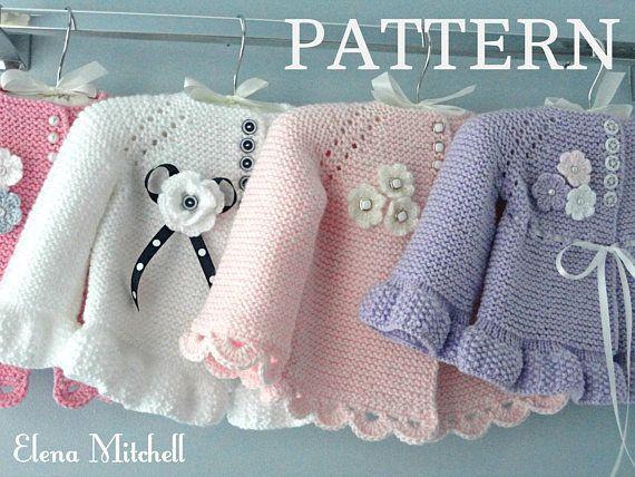 Knitting PATTERN Baby Jacket Baby Cardigan Garter Stitch Knit Pattern Baby Girl Jacket Newborn Girl Coat Knitting Cardigan Baby PATTERN