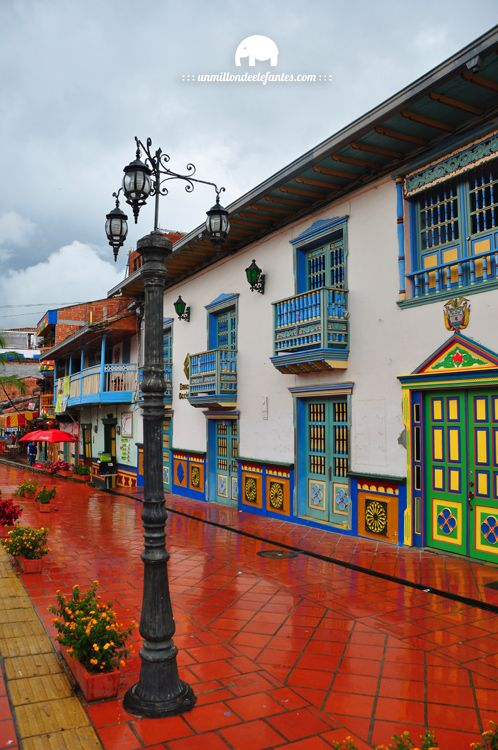 Guatape, a colorful town of Colombia dominated by a huge rock known as El Peñol and a reservoir that surrounds the area.