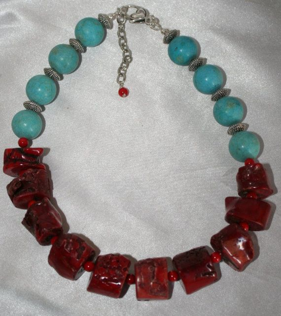 Chunky Red Bamboo Coral Statement Necklace Large Turquoise