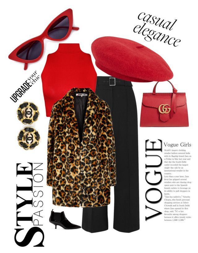 """""""red is the new black"""" by larisamarin on Polyvore featuring Veronica Beard, Gucci, WearAll, McQ by Alexander McQueen, Acne Studios and Chanel"""