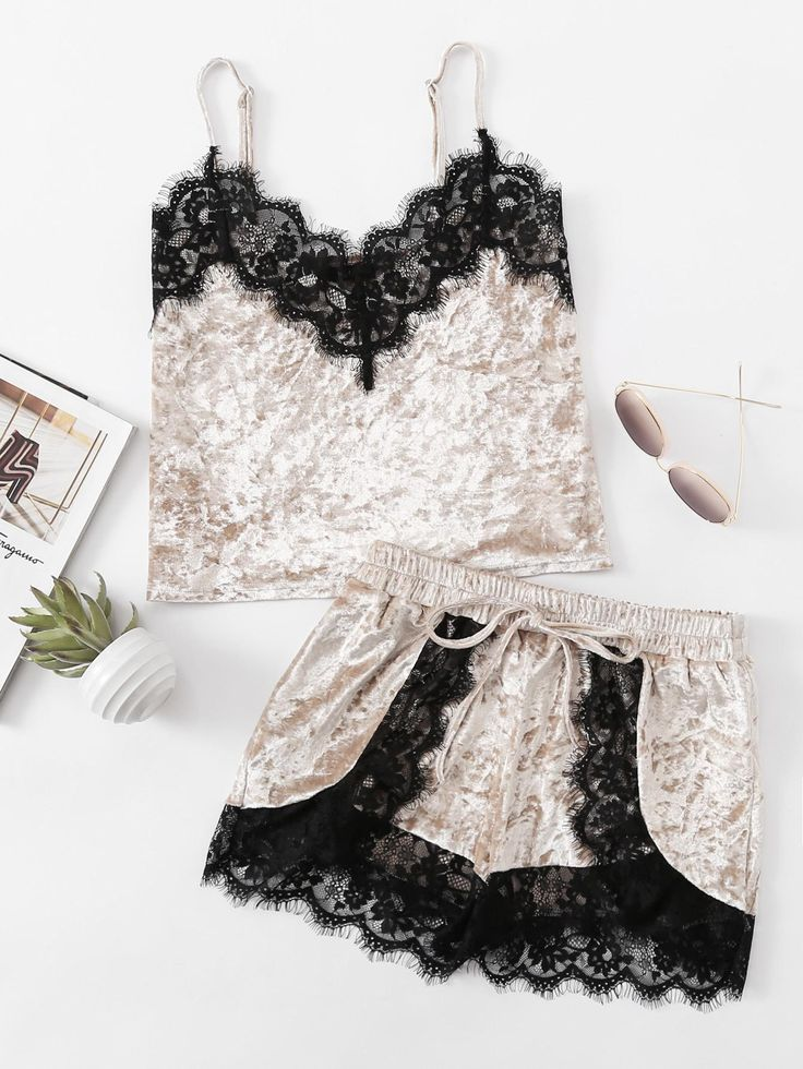#AdoreWe SheIn Womens - SheIn - Eyelash Lace Trim Velvet Cami & Shorts Pajama Set - AdoreWe.com