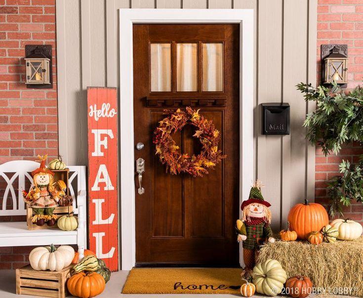 Fall Decor Ideas Fall Fallideas Falldecor Frondoor Outdoordecor Frontporch Pumpkins Falldisplay Tha Hobby Lobby Fall Decor Fall Table Decor Fall Decor