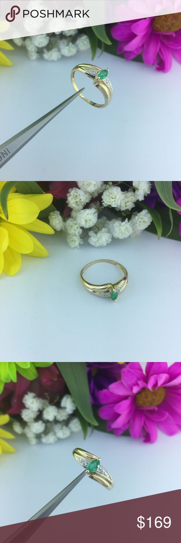 Ladies 14k Yellow Gold Emerald Ring With Diamonds Ladies Marquise Shape Emerald 14k Yellow Gold Ring Accented With Pave Set Diamonds  Gemstones: Genuine Emerald  Mounting metal: 14K yellow gold  Ring Size: Size 7  Center Stone : 5.5mm X 2.7mm   Total weight of piece:	1.9g   Retail Price: $399 Jewelry Rings