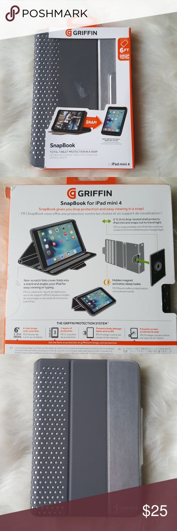 Griffin SnapBook iPad mini 4 case cover NWT ipad mini 4 cover in a grey with metallic silver. It is beautiful and a very sturdy and protective case. 6 foot drop tested and has auto sleep/wake. Never used, I have a mini 2. Note: 🚫This cover will NOT fit iPad mini 3, mini 2 or mini. 🚫 Griffin Accessories Tablet Cases