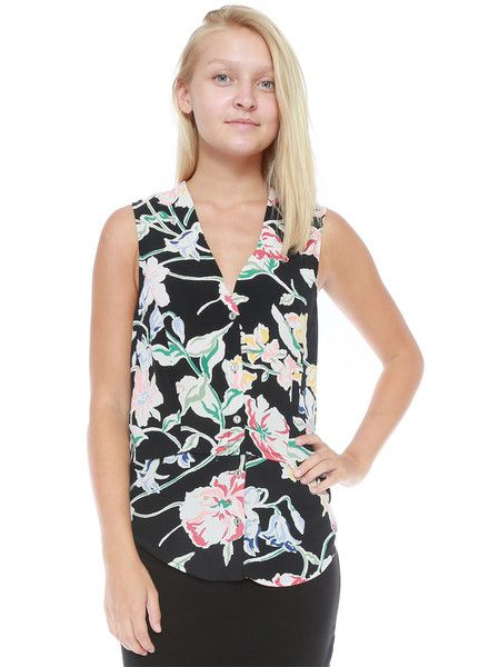 Melissa Lauren Sophia Sleeveless Black Floral Top Tank