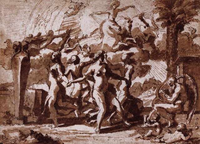 """Weekend Words: Time Nicolas Poussin, """"A Dance to the Music of Time"""" (c. 1635). Pen and brown ink on paper, 148 x 199 mm. National Gallery of Scotland, Edinburgh..."""