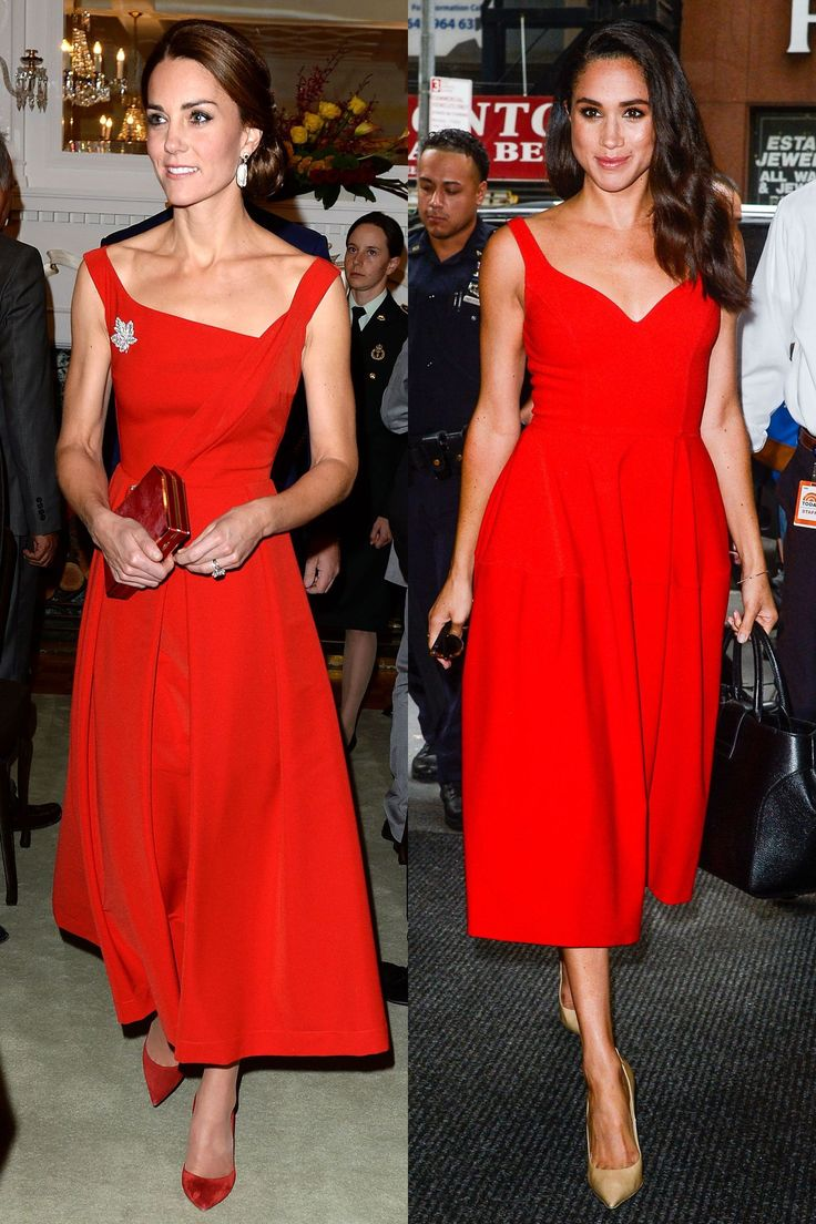 Twinning in fire engine red dresses!