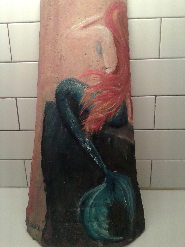 Ζωγραφική σε κεραμίδι -Mermaid - Γοργόνα