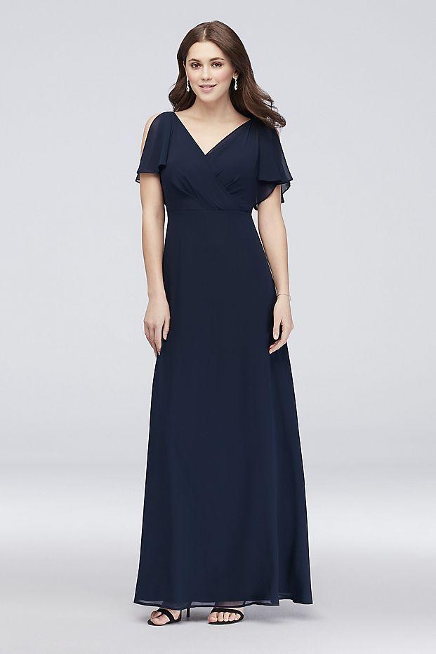 1685bc3358a5 Split-Sleeve Chiffon Surplice Bridesmaid Dress | David's Bridal ...