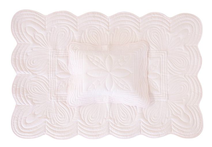 Bonne Mere Cot Quilt and Pillow Set - Powder