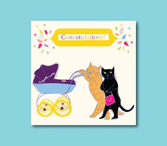 Fun Cat Themed Congratulations On Your New Baby Card