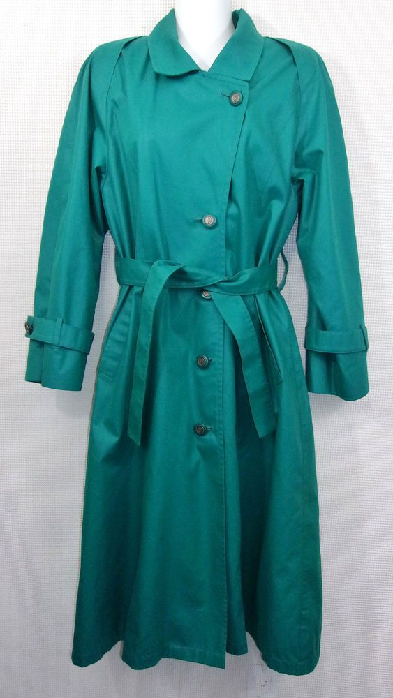 London Fog Green Trench Coat Size 8 Petite Belted Raincoat No Quilted Lining 8P #LondonFog #Trench
