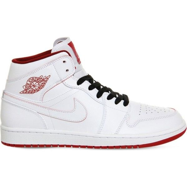 NIKE Air Jordan 1 leather trainers (€105) ❤ liked on Polyvore featuring shoes, sneakers, white gym red, white trainers, perforated sneakers, white shoes, red sneakers and red trainer