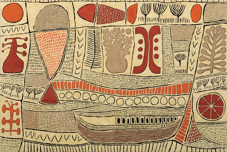 Marina Strocchi  Pictograph With Fish   2011, Acrylic on linen 122.5 x 183.0 cm.    [Courtesy Jan Murphy Gallery.]