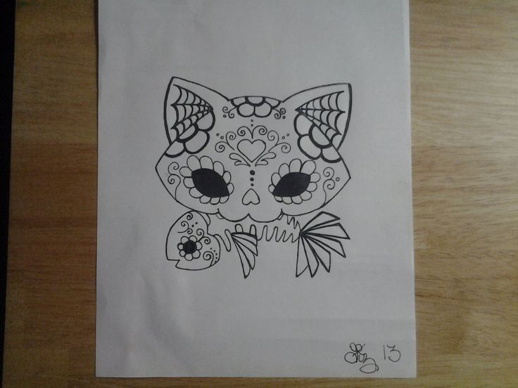 Sugar Skull Cat Tattoo | Sugar Skull Kitty and Fish by lizzyj2217 on DeviantArt
