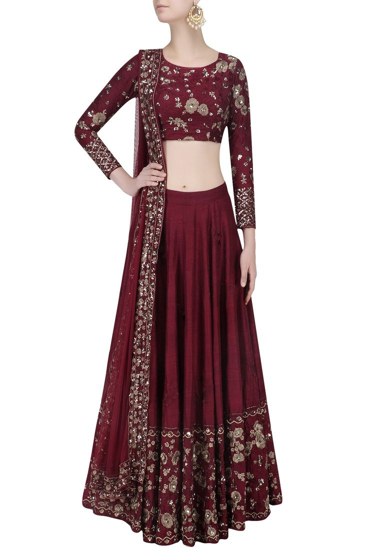 Maroon and gold threadwork and sequins lehenga set available only at Pernia's Pop Up Shop.
