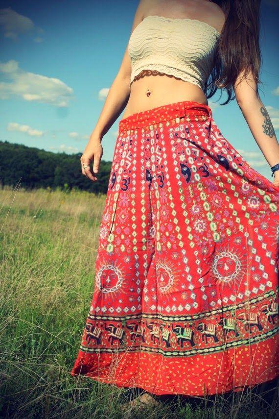 Long Bohemian Wrap Skirt
