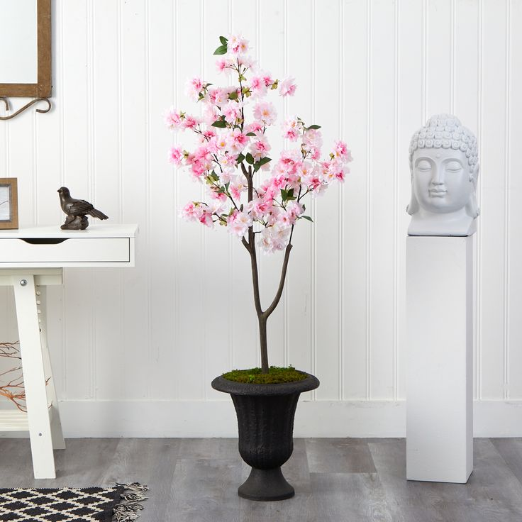 5 Cherry Blossom Tree In Charcoal Urn Ashley Furniture Homestore In 2021 Cherry Blossom Tree Blossom Trees Artificial Cherry Blossom Tree