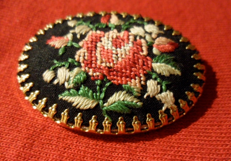 Needlepoint Rose Brooch. $16.00, via Etsy.