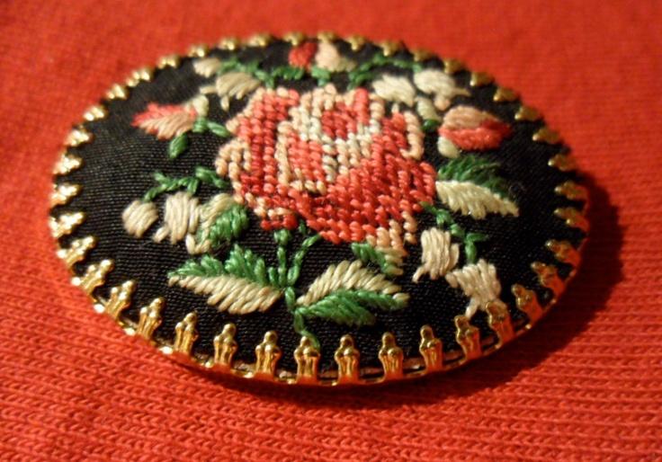 Needlepoint Rose Brooch. $16.00, via Etsy.