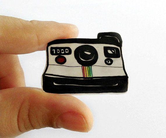 Polaroid  Brooch  handrawn on shrink plastic by LeIdeeDellaVale