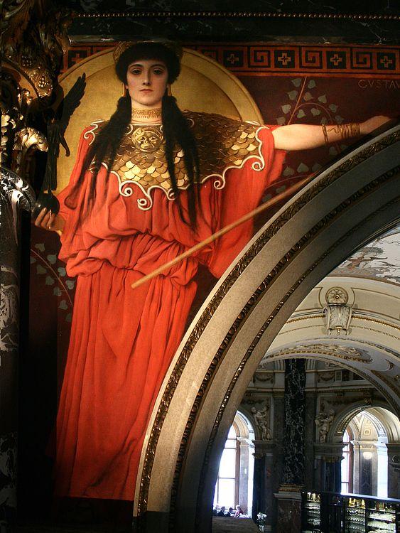 Pallas Athene by Gustav Klimt   Zwickelbild im Stiegenhaus des Kunsthistorischen Museums