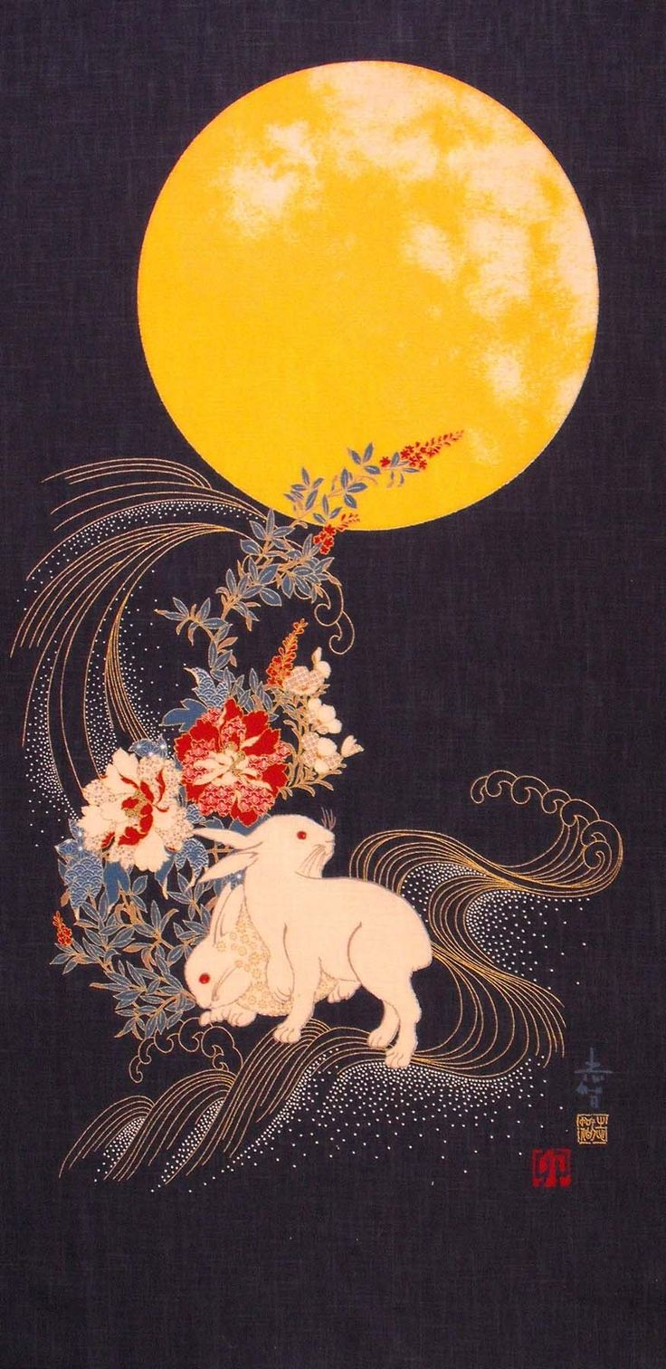 In Japanese folklore, the rabbit (usagi) resides on the moon pounding rice for omchi (rice cake).
