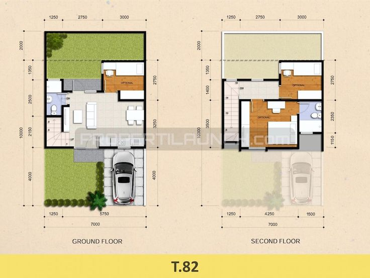 Tipe 82 denah rumah cluster Kireina Park BSD City.