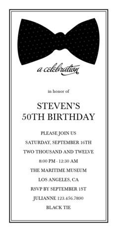 Bowtie Birthday Birthday Invitation...could be modified for the gala invitation. Very formal