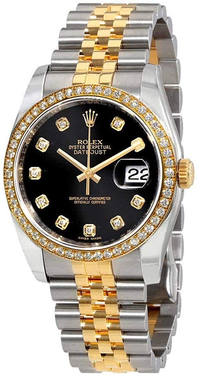 Rolex Oyster Perpetual Datejust 36 Black Dial Stainless Steel And 18k Yellow Gold Rolex Jubilee Automatic Ladies Watch 116243bkdj Rolex Rolex Oyster Gold Rolex