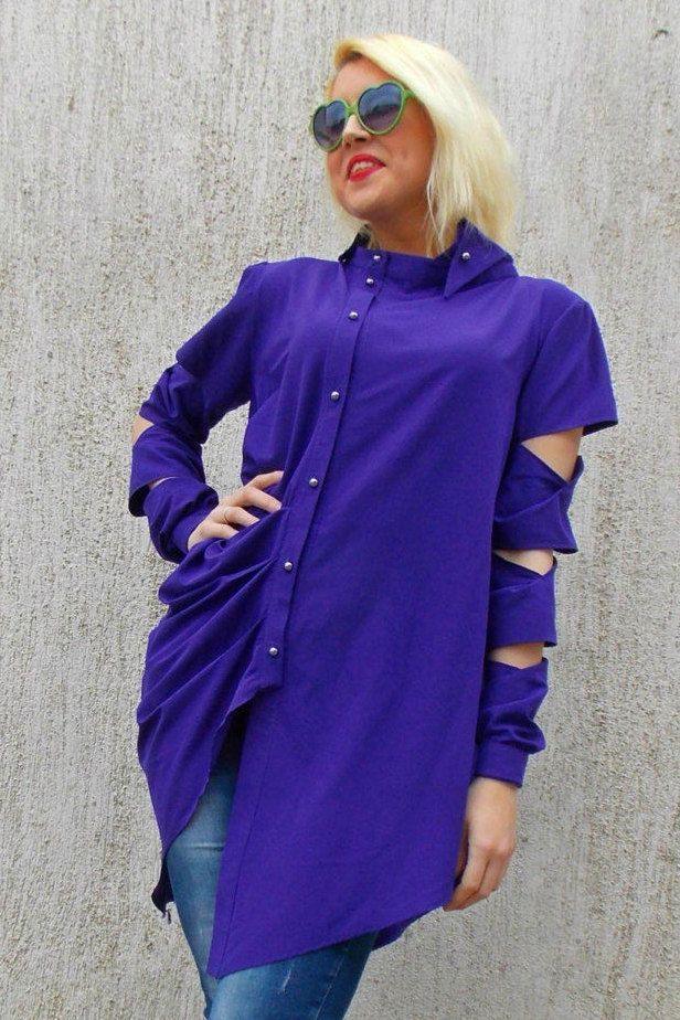Just in: Purple Asymmetrical Blouse TT48, Deconstructed Shirt, Deconstructed Top, Purple Top with Cropped Long Sleeves by TEYXO https://www.etsy.com/listing/226584788/purple-asymmetrical-blouse-tt48?utm_campaign=crowdfire&utm_content=crowdfire&utm_medium=social&utm_source=pinterest
