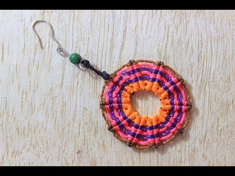 M como hacer aretes macrame circulares cavandoli - YouTube