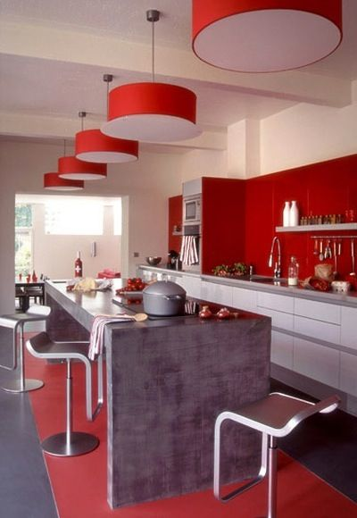 , Colors Kitchens, Kitchens Cabinets Colors, Red Kitchens Cabinets
