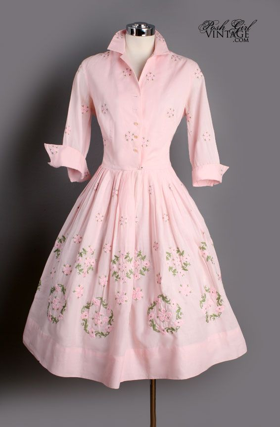 Vintage Pink Cotton Embroidered French Cuff Dress