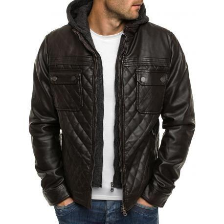 Tmavě hnědá pánská bunda z EKO kůže s odnímatelnou kapucí