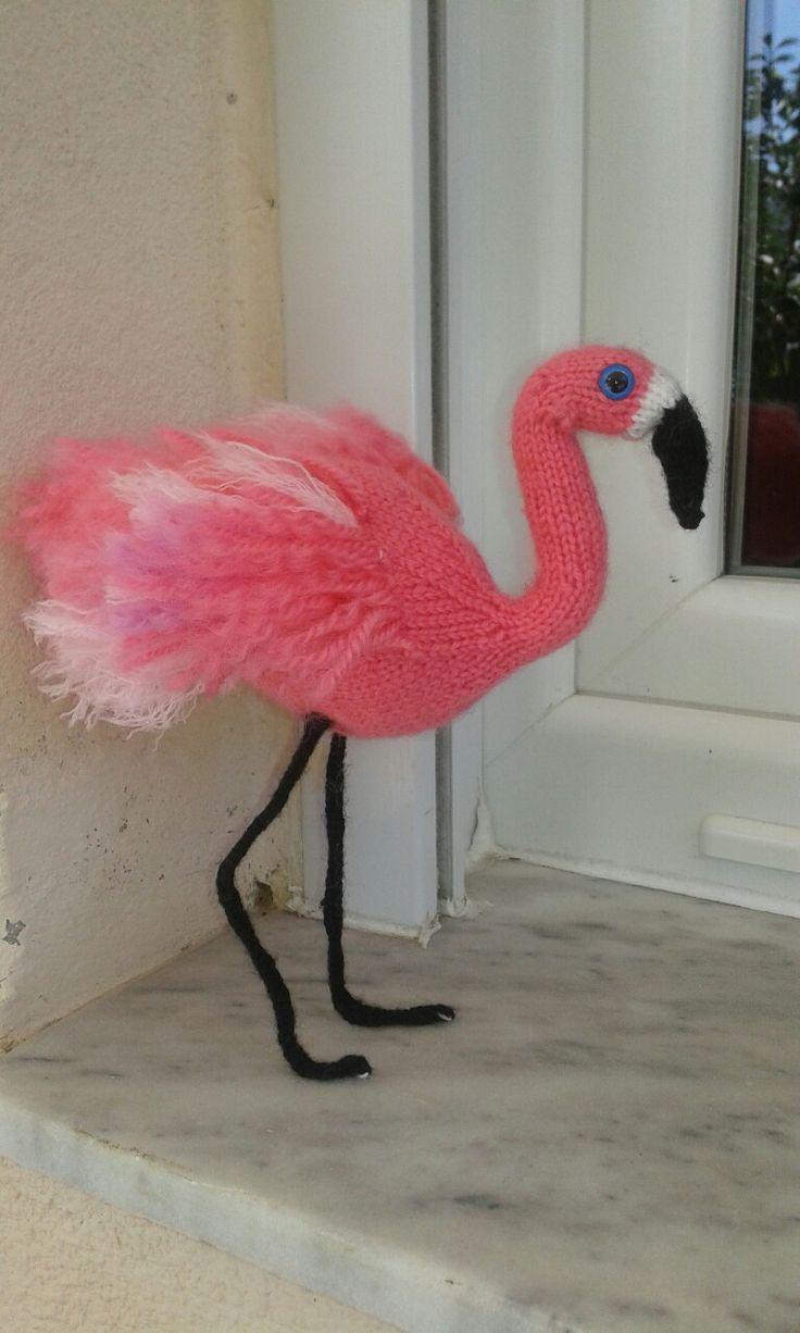 Фламинго спицами. Knitted toy flamingos